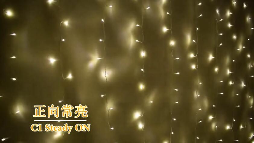 音控11功能暖白+白色窗帘灯串